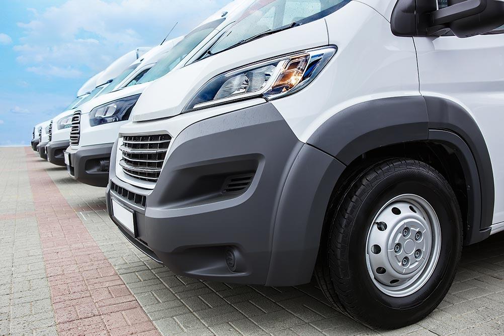 Fleet of white vans